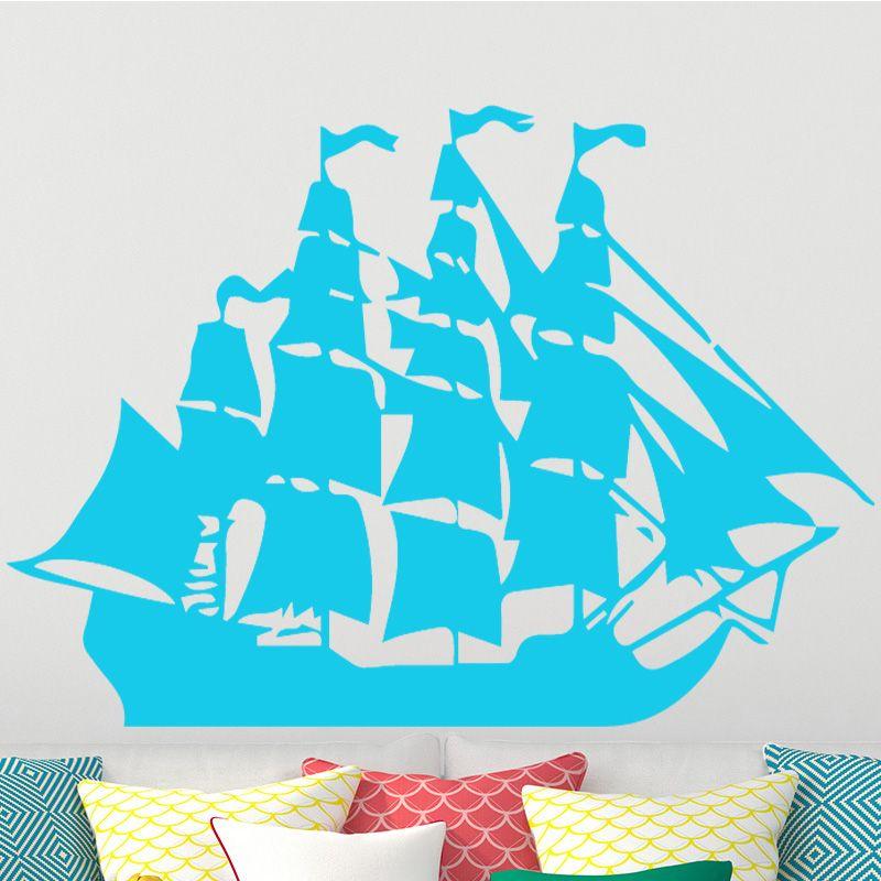 Cartoon Pirate Ship Sailing Wall Stickers For Kids Livingrooms