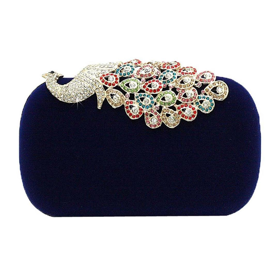 Hot Women Rhinestone Peacock Velvet Party Clutch Evening Bags
