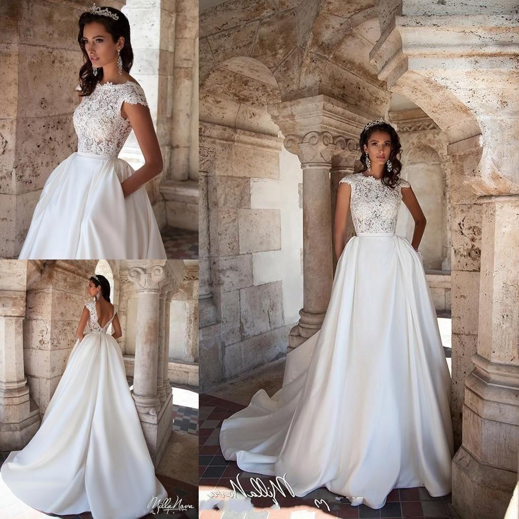 a176c7b408 Cheap Milla Nova Cap Sleeves A Line Wedding Dresses 2018 Illusion Lace Top  Open Back Satin Long Bridal Dresses