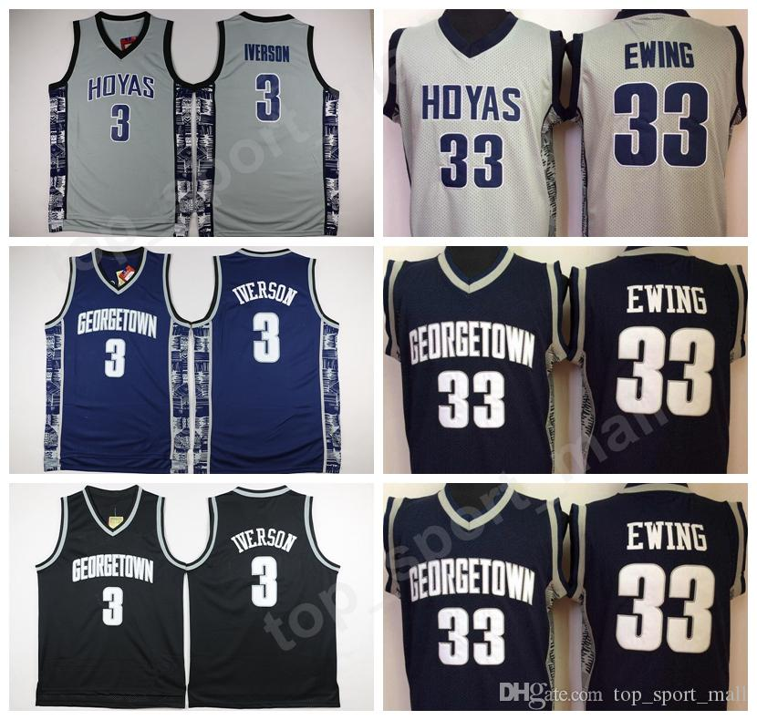 1b6f1dba6 University Georgetown Hoyas Jerseys Men Sale Basketball 3 Allen Iverson  Jersey 33 Patrick Ewing Uniform College Sport Breathable Top Quality