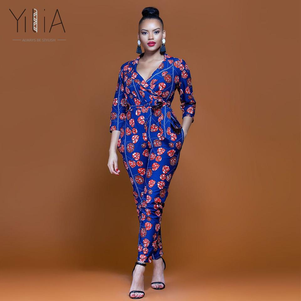 96a6c879fbc 2019 Yilia Womens Rompers Jumpsuit Summer 2018 New Women African Print  Clothing 3 4 Sleeves Casual Sexy Fashion Party Wide Leg Pants From Cutee
