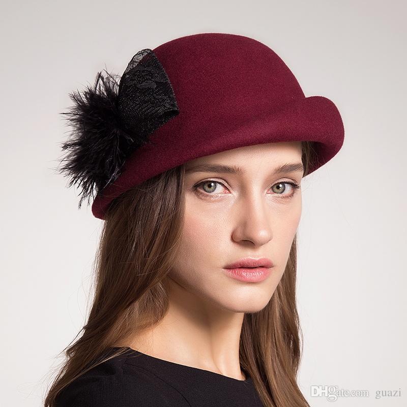 Großhandel Herbst Winter Frauen Beret Hüte 100% Australien Wolle ...