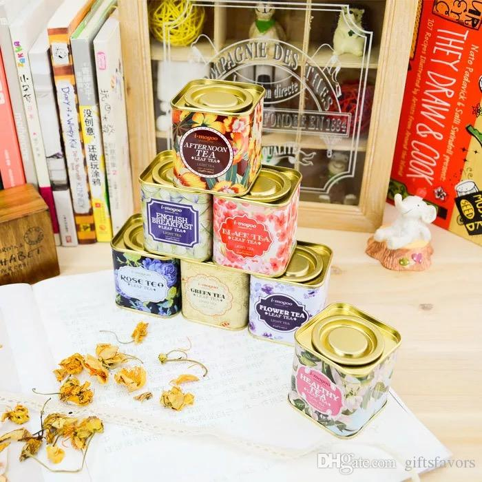 Portable Vintage Tins boxes Flower Tea Tin Favors Candy Holders Container 9 design 100 pcs lot free shipping wholesales