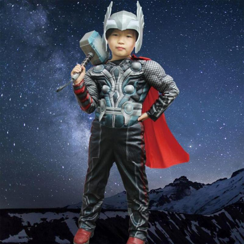 Halloween Thor Clothing Children Cosplay Anime Costume Quake Hammer Muscle Clothing Glow Helmet Thor Hammer