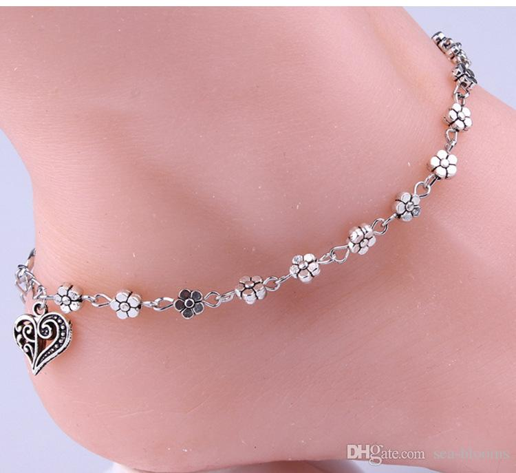Retro Silver Hollow Silver Plum Flowers Ankle Chain Foot Ornaments Peach Heart Shaped Anklet Bracelet Foot Jewelry G46L