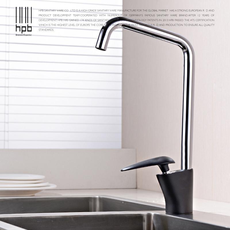 best hpb modern design chrome black paint kitchen faucets single