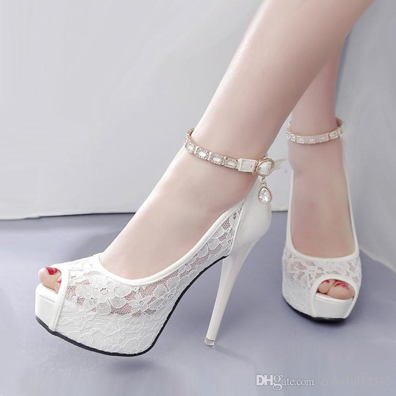 premium selection 06325 68078 Weiße Spitze Hochzeit Schuhe Frauen High Heel Pumps Knöchelriemen Plattform  Peep Toe Schuhe 2018 Größe 34 bis 39