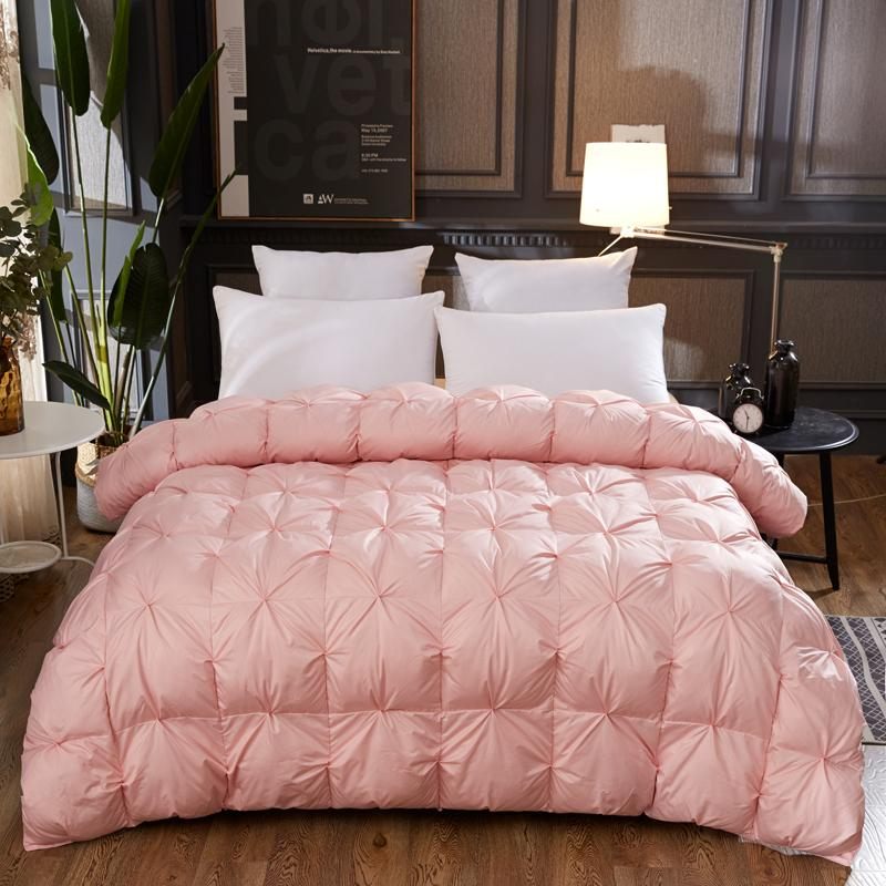 Pink Beige Blue Gray Quilted 100 White Goose Down Quilt Winter