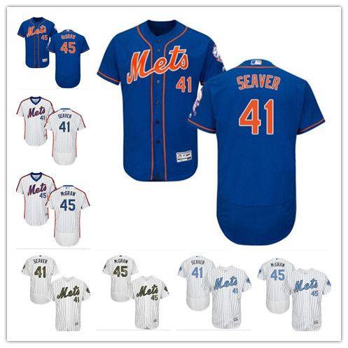 Custom Men Women Youth Majestic NY Mets Jersey  45 Tug McGraw 41 Tom ... 30a7fed82