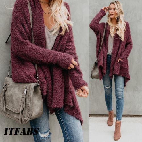 9b0bdbc71 Autumn New Women Ladies Baggy Cardigan Casual Coat Chunky Knitted ...