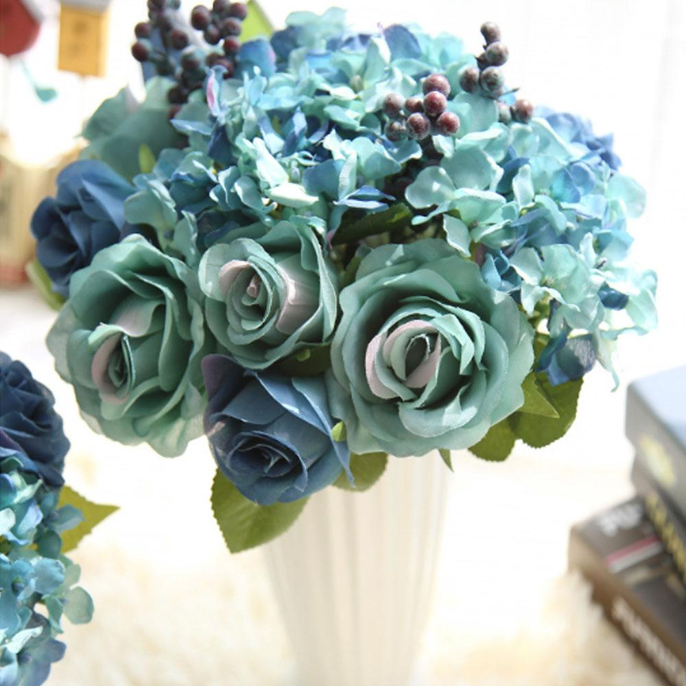 2018 Artificial Rose Flowers Silk Foam Blue Fake Flowers For Gift