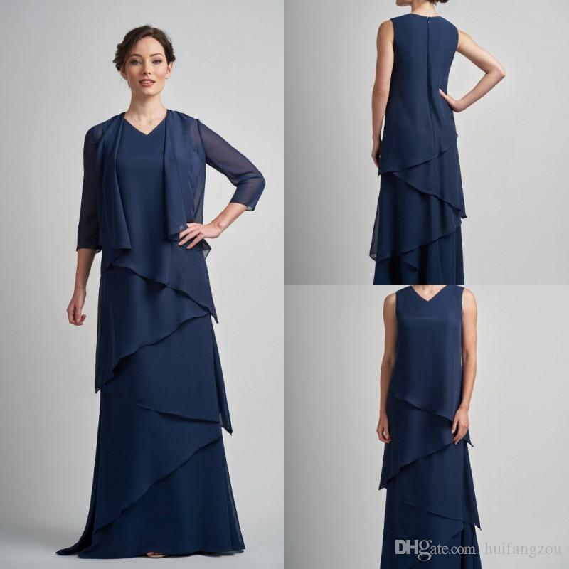 679a929ee67 Dark Navy Mother Of The Bride Dresses V Neck Two Pieces Tiered Ruffles Chiffon  Evening Dress Floor Length Formal Wedding Guest Dresses Mother Of The Bride  ...