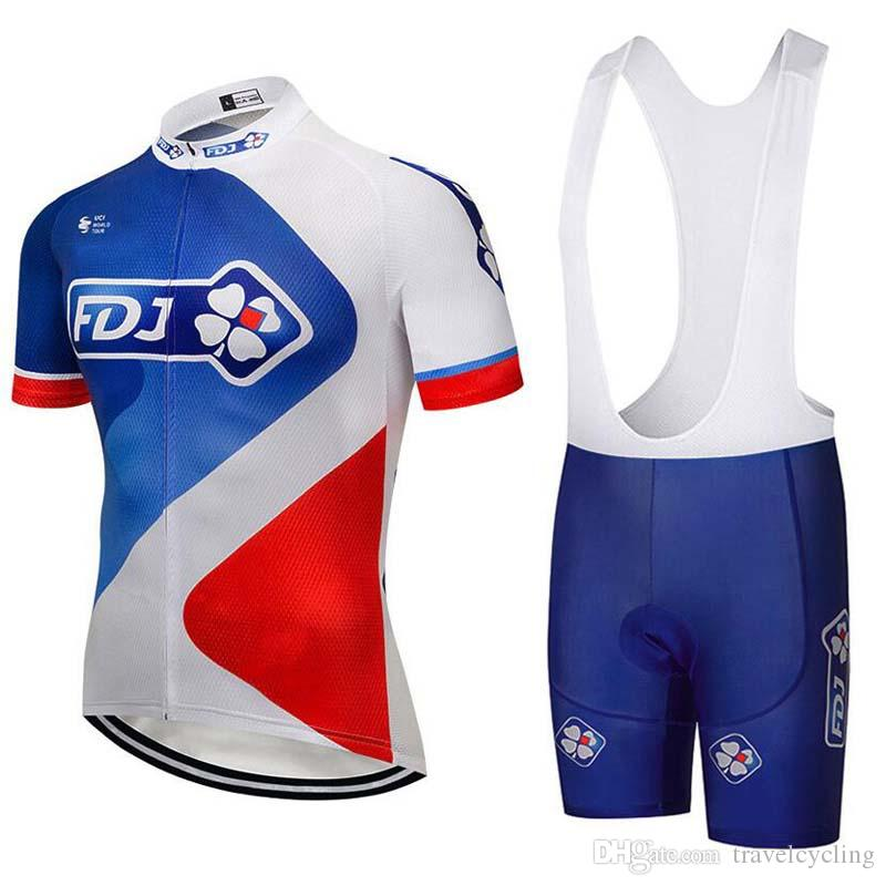 FDJ Cycling Jersey Quick Dry Bike Sets Breathable Bicycle Wear Short ... 007106b00