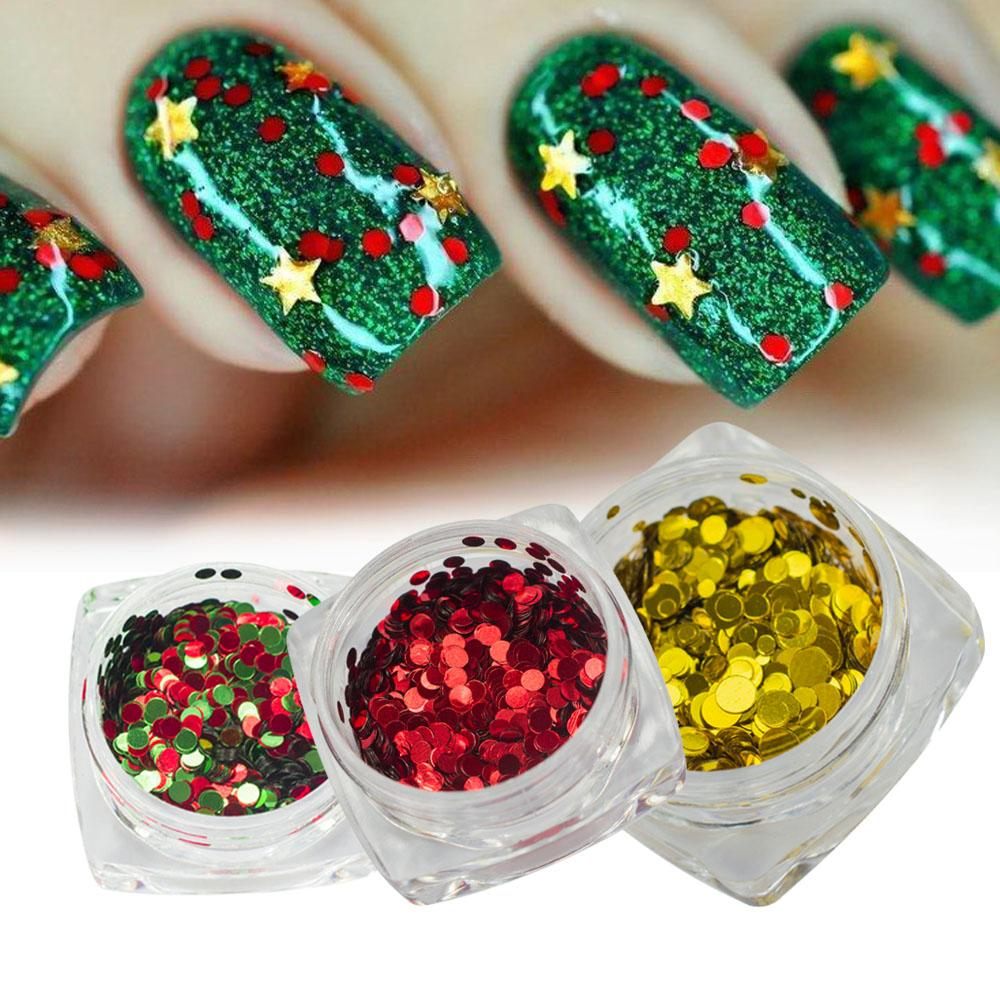 Christmas Theme Nail Sequins Round Dot Shape Mixed Laser Silver Red