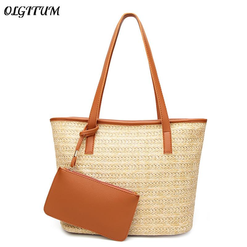 495bc180a9 Hot New Fashion Women s Bag Boho Handmade Straw Composite Bags For ...