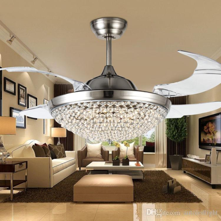 Crystal LED Ceiling Fans Light 42 Inch