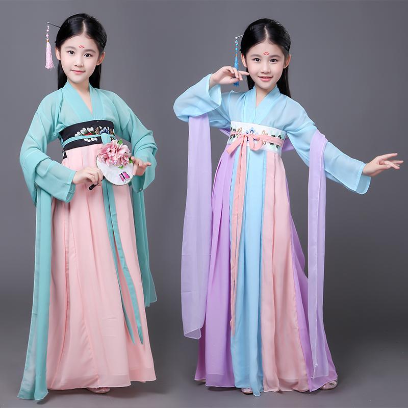 02d277df38a Acheter Enfants Chinois Traditionnel Hanfu Robe Filles Kid Chinois Ancien Robe  Costume Hanfu Femme Tang Vêtements Pour Fille Costumes De  35.18 Du ...