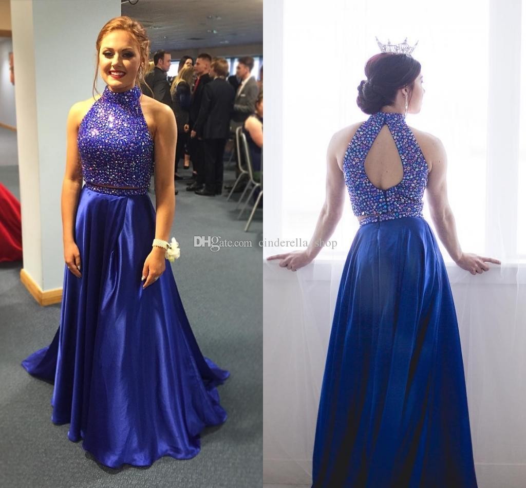c2a6e2422 Compre 2018 Dos Piezas Vestido De Fiesta Azul Real Con Cuentas Cuello Alto  Con Espalda Abierta Barrido De Tren Satén Vestidos De Fiesta Largos Para La  ...