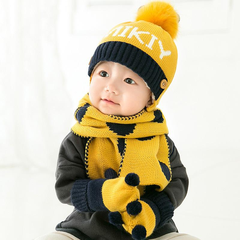 5e1f51b547d 2019 6 24m Baby Winter Wool Hat +Scarves +Gloves Infantil Menina Knitted  Caps Toddler Boys Girls Clothing New Year Gift 2017 Winter From Roohua