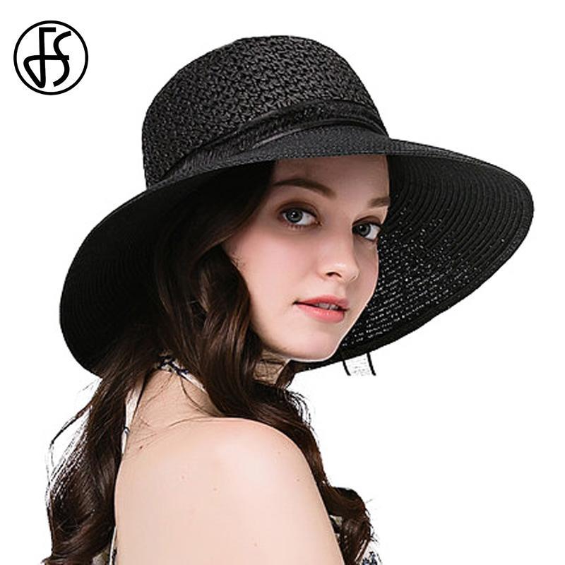 9b2c25d3c45 2017 Elegant Ladies Straw Hat Black Sun Cap Floppy Wide Brim Female Summer  Beach Cloche Hats With Bow Ribbon For Women Chapeau Funny Hats Hat World  From ...