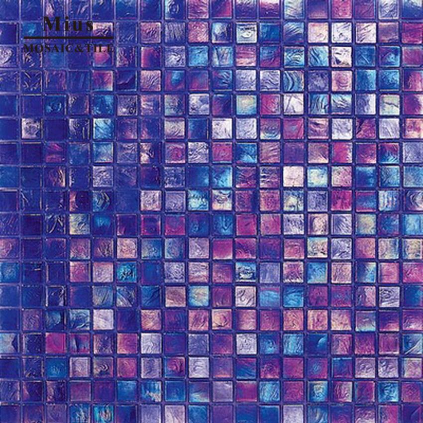 Iridescent glass swimming pool mosaic tile