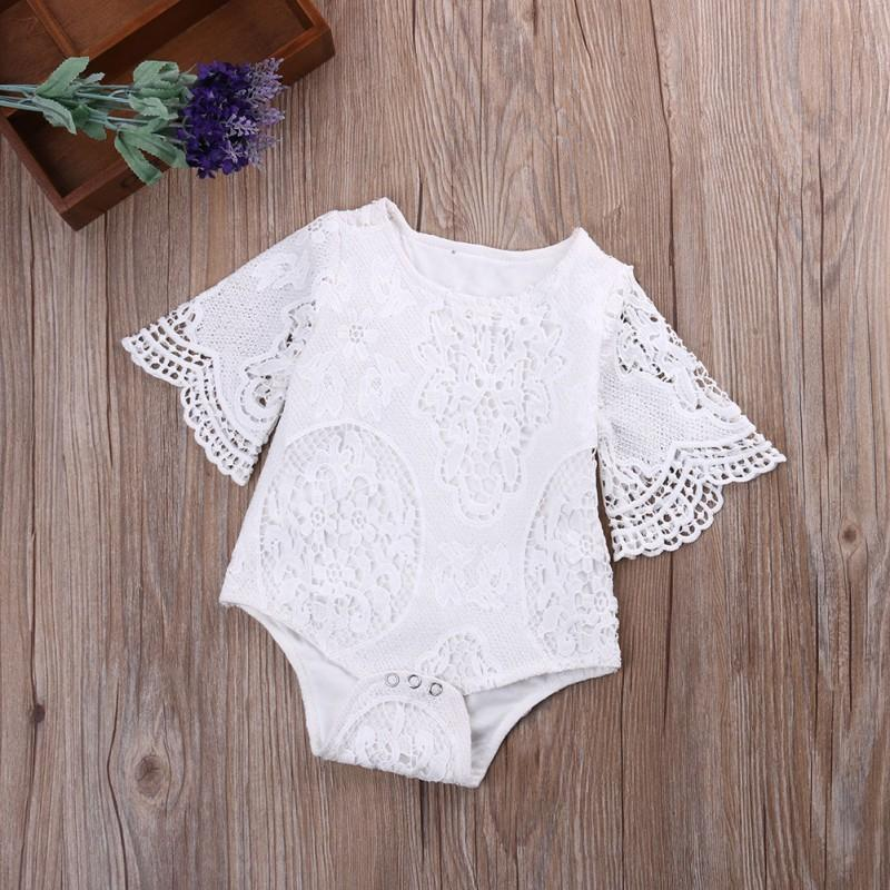 c781d8c26 2019 Sweet Gifts Baby Girls White Ruffles Sleeve Romper Infant Lace  Jumpsuit Clothes Sunsuit Outfits From Dejavui, $34.62 | DHgate.Com