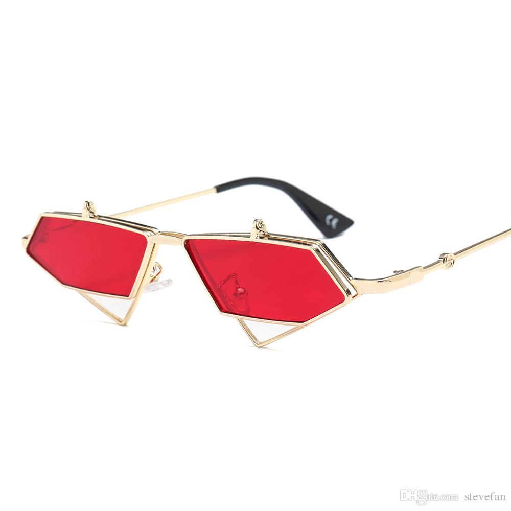 b4e4b2d357 Gold Steampunk Flip Up Sunglasses Men Vintage Red Metal Frame Triangle Sun  Glasses For Women 2019 Uv400 Police Sunglasses Serengeti Sunglasses From  Stevefan ...