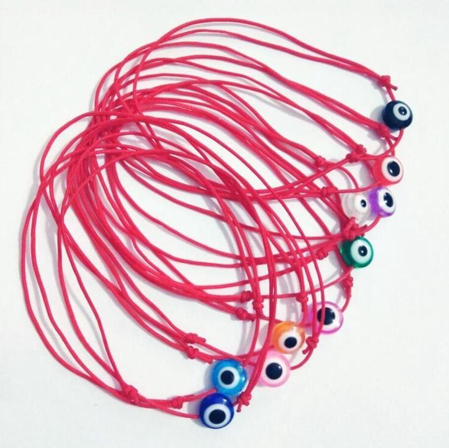 SıCAK Moda Renkli nazar boncuk 10 adet / grup KABBALAH EL Made Kırmızı Dize Bilezik Kabala Iyi Şanslar Bilezik Kadınlar Için Hediye A2