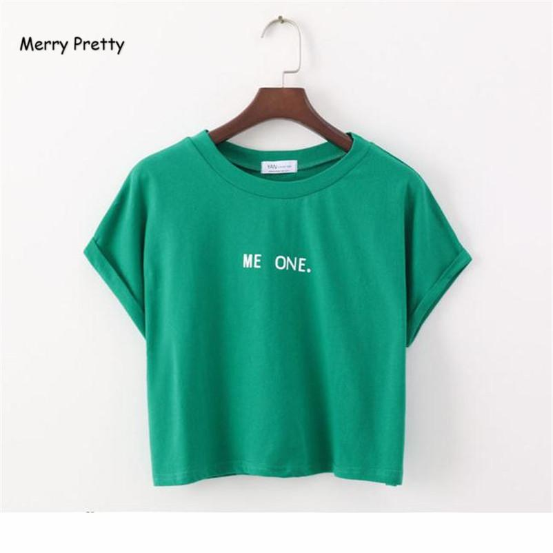 a78b2dd9a28d MERRY PRETTY New Fashion Cute Short Sleeve T Shirt Letter Print Crop Tops  Green Summer Cotton T Shirt Women Tops Causal T Shirts Y1891306 T Shirt  Shop ...