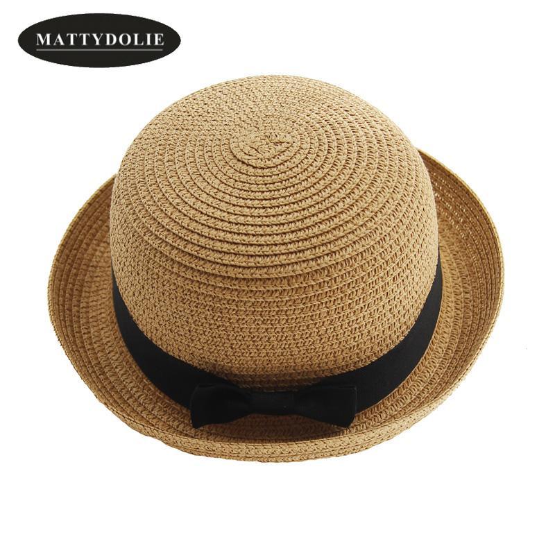 dc9b8107a MATTYDOLIE Straw hat girl and boy summer hat bow tie ladies men fold beach  sun parent-child couple