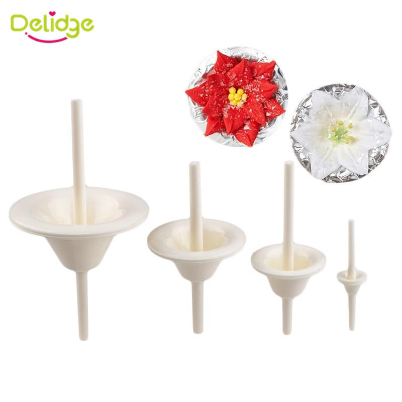 Delidge 4Pcs/Set Plastic Lily Flower Nail Receptacle Removable Frosted Piping Mould Kitchen Pastry Tool Fondant Cake Decorating