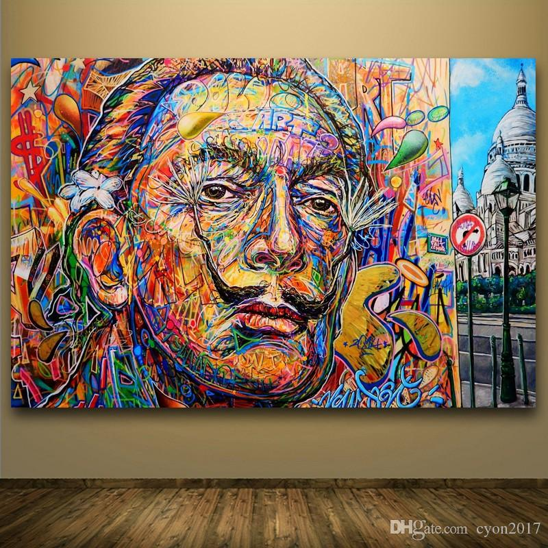 2019 Salvador Dali Abstract Portrait Oil Painting Street ...
