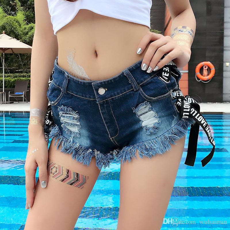 Vintage Sexy Bikini Beach Women Jean Booty Shorts Feminino Low Waist Summer Micro Skinny white Blue Black Denim Shorts Clubwear