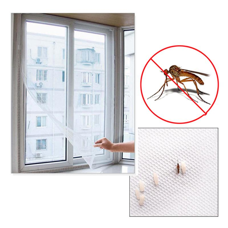 Fly Mosquito Window Net Mesh Screen Mosquito Mesh Curtain Protector Insect  Bug Fly Window Screen White 150 x 130cm