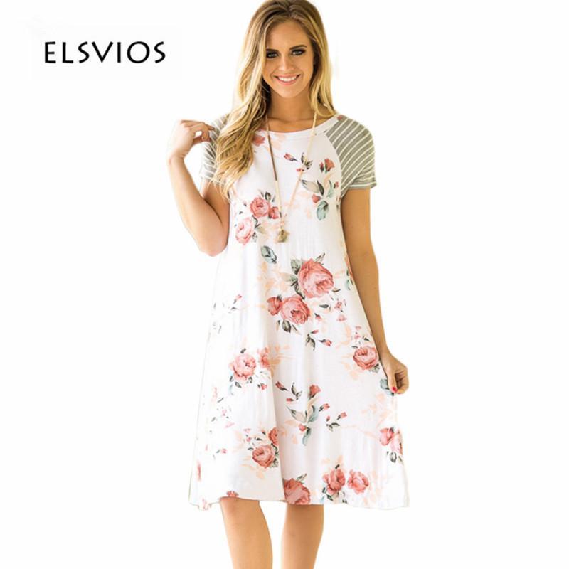 41ea8044725ef ELSVIOS Summer Floral Printed Loose A-Line Dress Women O Neck Short Sleeve  Patchwork Dresses Casual Sundress Female Vestidos