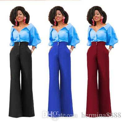 23dbdf2836ce 2019 Spring Autumn Wide Leg High Waist Women Pants Button Plus Size Flare  Casual Pants Office Lady Fashion Loose Stretch Women Palazzo Pants From ...