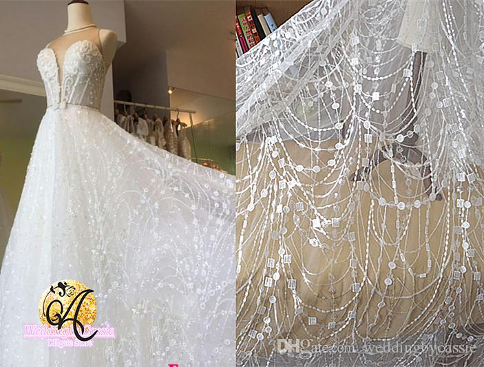 White wave tassel glitter tulle fabric embroidery lace wedding dress 2e colors may have different as the difference display please understand because of the angle and light the real object may be slightly different from junglespirit Gallery