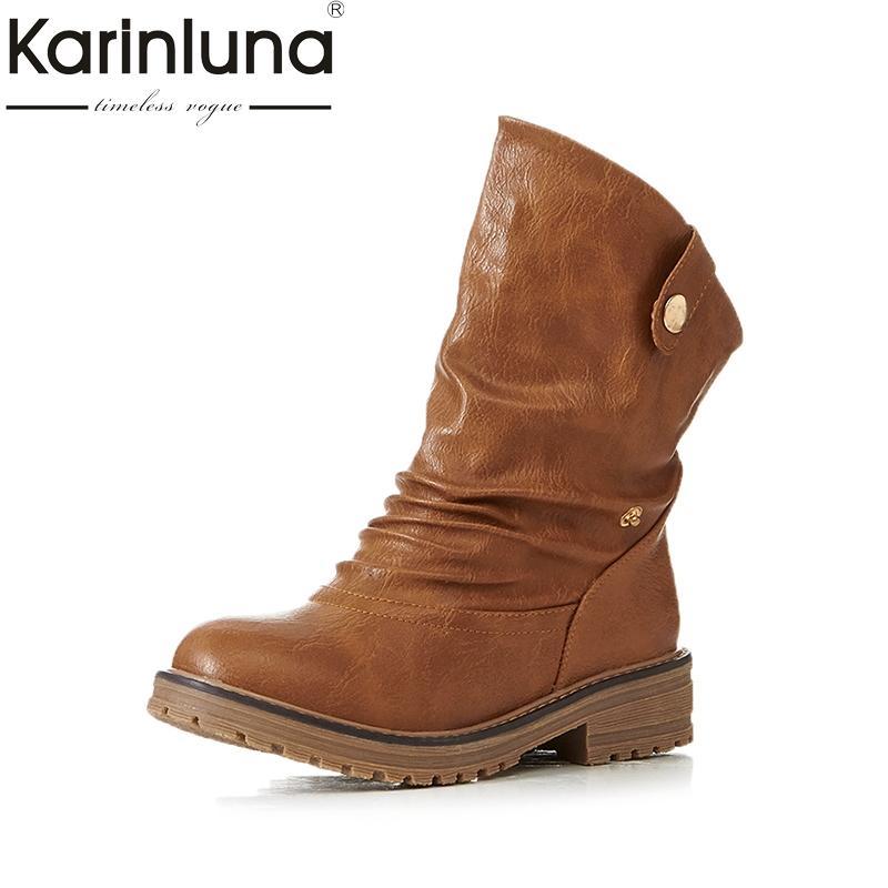 Karinluna Western 43 Bottes Fourrure Ajouter Talons 33 Chaussures Grande Femme Rétro Femmes Taille Carrés Automne SzMVUqpG