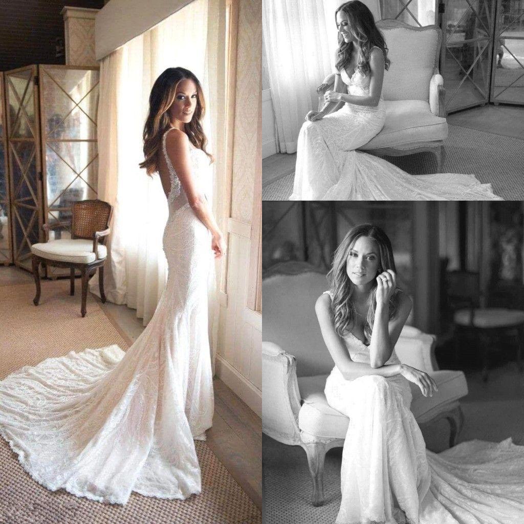 7c576f0892 Beach Bohemian Ivory Full Lace Mermaid Trumpet Wedding Dresses Spaghetti Straps  Deep V Neck Backless Wedding Bridal Gowns BA9611 Long Sleeved Wedding ...