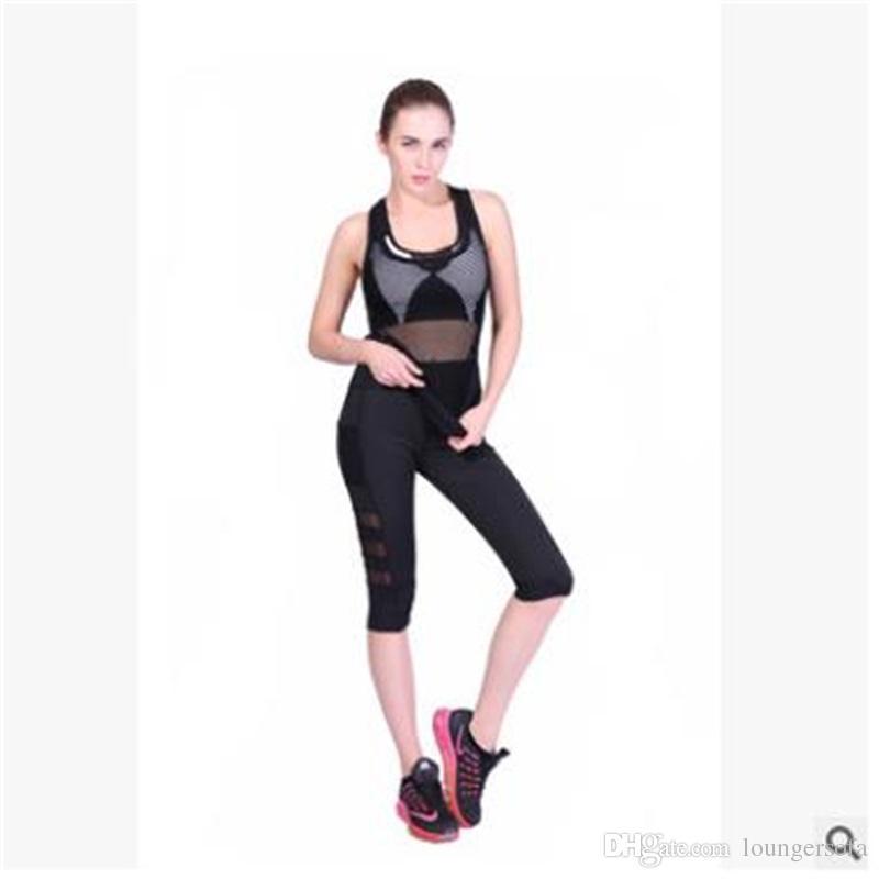 2387494a307 Polyester Fiber Gym Pants Net Yarn Fashion Ventilation Fitness Yoga Pant  Elastic Women Girl Black Anti Wear Mesh Sport Leggings 13yz jj