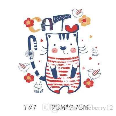 Nozioni di cucito Strumenti Bambino Patch Adesivo del gatto del fumetto adorabile Adesivi fai da te Adesivi fai da te la maglietta divertente Iron-on Trasferimenti Vestiti