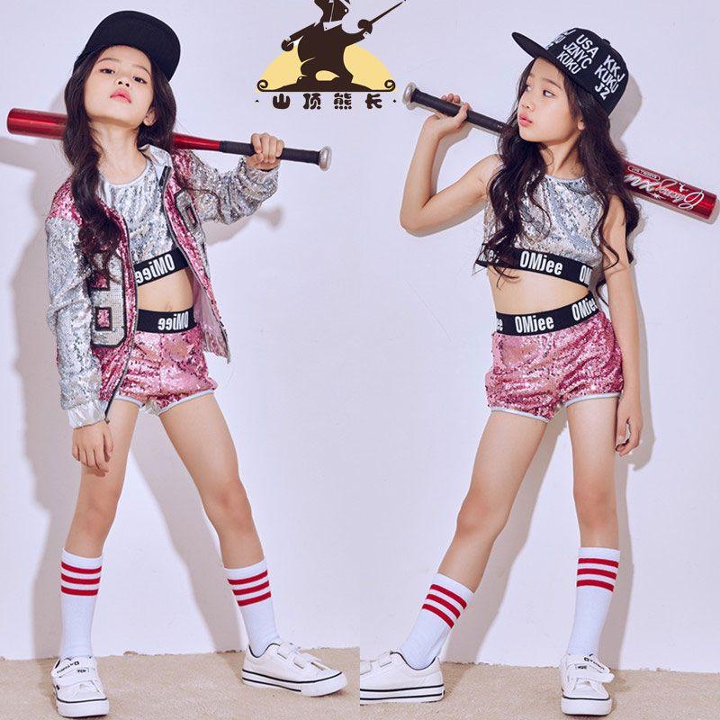 b67b259294d99 Compre Nuevos Trajes Para Niños Chica Jazz Dance Hip Hop Traje De Danza  Moderna Niños Trajes De Hip Hop A  44.82 Del Candice98