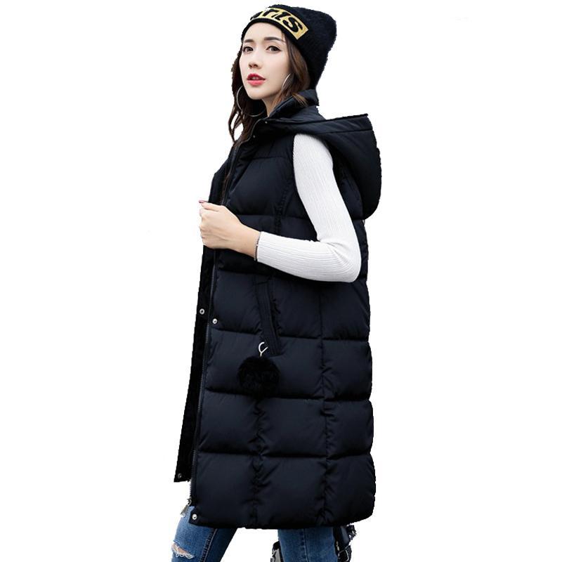 56b9440c8fd9 Autumn Winter 2017 Women Long Vest Hairball Hooded Slim Warm Vest ...