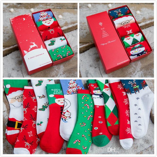 In Gift Box Women Winter Christmas Socks Sweet Warm Knitted Cotton Socks Santa Snowman Deer Claus Gift Socks For Big Boys And Girls Pig Toe Socks Socks Shop ...