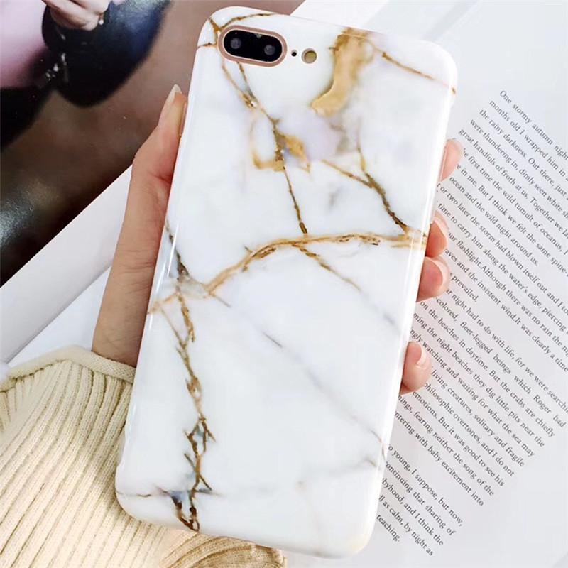 buy popular d5317 e4cd5 New Luxury Glossy Marble Veins Phone Case For iPhone X 7 8 Plus For iPhone  X Cases Fashion Dreamlike TPU Cover Capa Fundas