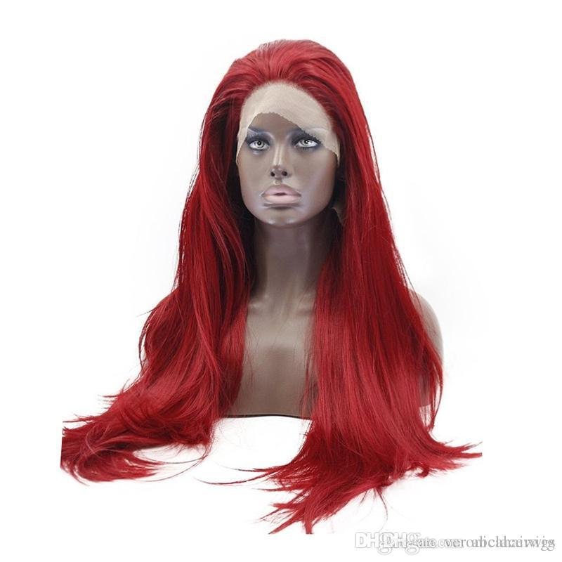 New Cosplay Beautiful High Temperature Fiber Natural Fully Hair Wigs  Glueless Long Straight Burgundy Red Synthetic Lace Front Wig For Women  Womens Wigs ... 48e23c810
