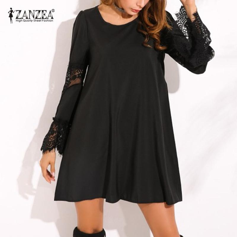 c46975115a0 2019 2018 ZANZEA Womens Lace Crochet Splice Hollow Out Flare Sleeve Loose  Cocktail Sexy Party Casual Mini Shirt Dress Vestido Plus D18111206 From  Xiao0002