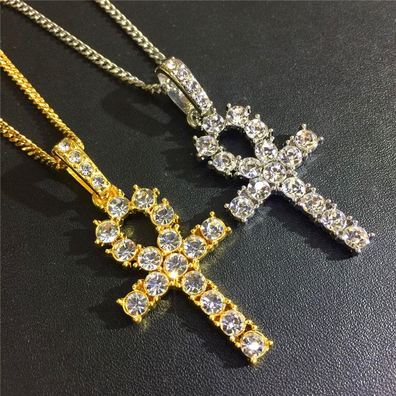 Brand Hiphop Cuban Zircon Necklaces For Men 18K Gold Plated Chains Shining CZ Egyptian Ankh Key Charm Hip Hop Jewelry