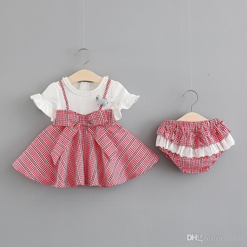 af2fee0eb Infant baby girl clothing summer infantil toddler clothes newborn dresses  Stitching shirt + shorts 2pcs for girls vestido newborn dress