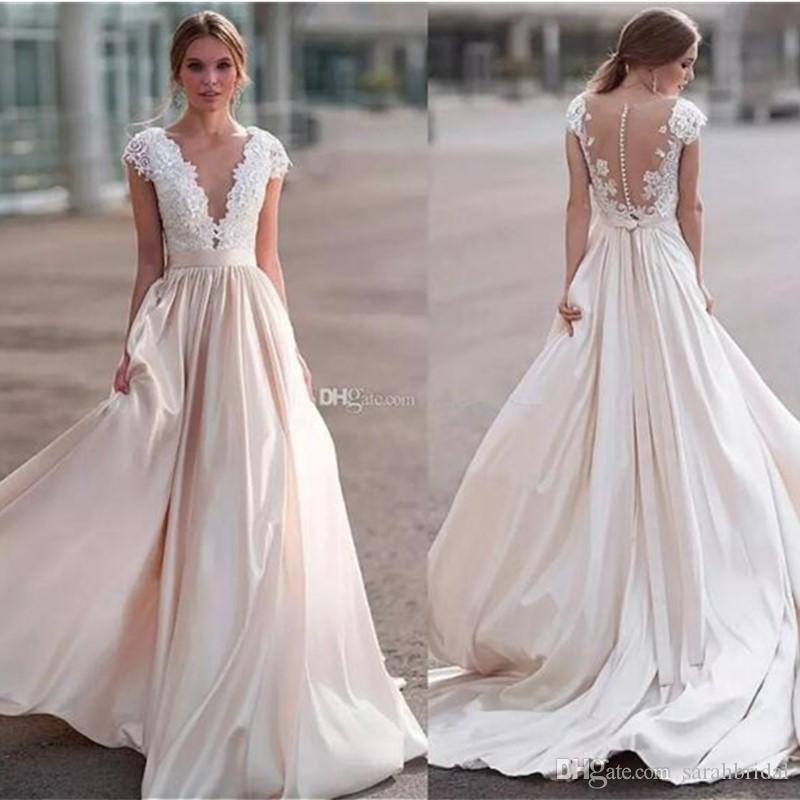 b408a60b80d2 Gorgeous Lace Wedding Dresses Sheer Neck Cap Sleeves Satin Ribbon Illusion  Back Country Wedding Dresses Beach Bridal Dresses Ball Gown Wedding Dresses  With ...